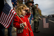 A little girl salutes veterans while holding an American flag during the eighth annual Veterans Day Parade in Folsom on Nov. 12, 2007.