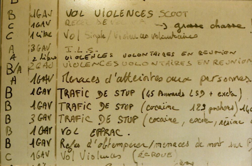 Tableau des crimes enregistr&eacute;s dans la nuit, commissariat de Corbeil-Essonnes.<br />