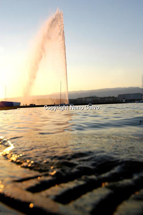 View of Jet D`eau at sunset, Geneva, Switzerland
