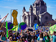 22 APRIL 2017 - ST. PAUL, MN: The Children's Climate March led the Minnesota March for Science to the State Capitol. The St. Paul Cathedral is behind them. More than 10,000 people marched from the St. Paul Cathedral to the Minnesota State Capitol in St. Paul during the March for Science. March organizers said the march was non-partisan and was to show support for the sciences, including the sciences behind climate change and vaccines.      PHOTO BY JACK KURTZ