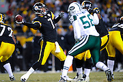PITTSBURGH, PA - JANUARY 23: Ben Roethlisberger #7 of the Pittsburgh Steelers passes against the New York Jets in the AFC Championship Playoff Game at Heinz Field on January 23, 2011 in Pittsburgh, Pennsylvania. The Steelers defeated the Jets 24 to 19. (Photo by: Rob Tringali) *** Local Caption *** Ben Roethlisberger