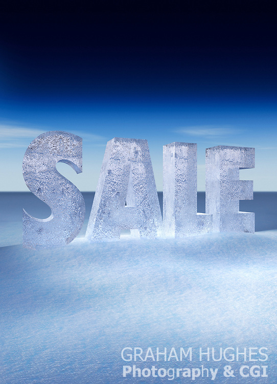 Sale letters made from ice in snowy winter landscape