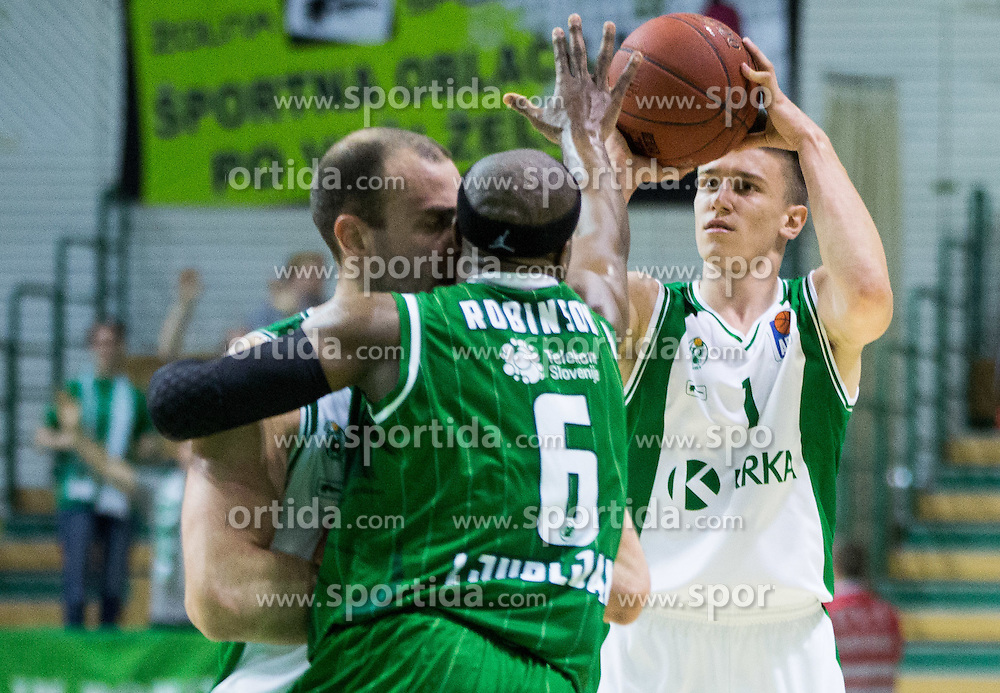 Jure Lalic #7 of Krka, Dawan Robinson #6 of KK Union Olimpija Ljubljana, Matic Rebec #1 of Krka during basketball match between KK Krka and KK Union Olimpija Ljubljana in 5th Round of Nova KBM Champions League 2015/16, on April 13, 2016 in Sports hall Leon Stukel, Novo mesto, Slovenia. Photo by Vid Ponikvar / Sportida