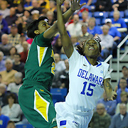 Delaware Guard Akeema Richards (15) in actions during a regular season NCAA basketball game against George Mason Thursday, Jan 10, 2013 at the Bob Carpenter Center in Newark Delaware...Delaware (10-3; 1-0) defeated George Mason (5-8; 0-2) 62-27..Delaware is riding a four-game winning streak after defeating George Mason, St. John's in over- time on Jan. 2 Villanova (Dec. 29) and Duquesne (Dec. 30) to capture the 2012 Dartmouth Blue Sky Classic title.