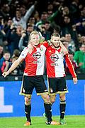 ROTTERDAM - Feyenoord - AZ , Voetbal , Eredivisie, Seizoen 2015/2016 , Stadion de Kuip , 25-10-2015 , Speler van Feyenoord Bart Nieuwkoop (r) scoort de 2-1 onduidelijk is of Speler van Feyenoord Dirk Kuyt (l) er nog aankomt maar ze vieren samen het doelpunt