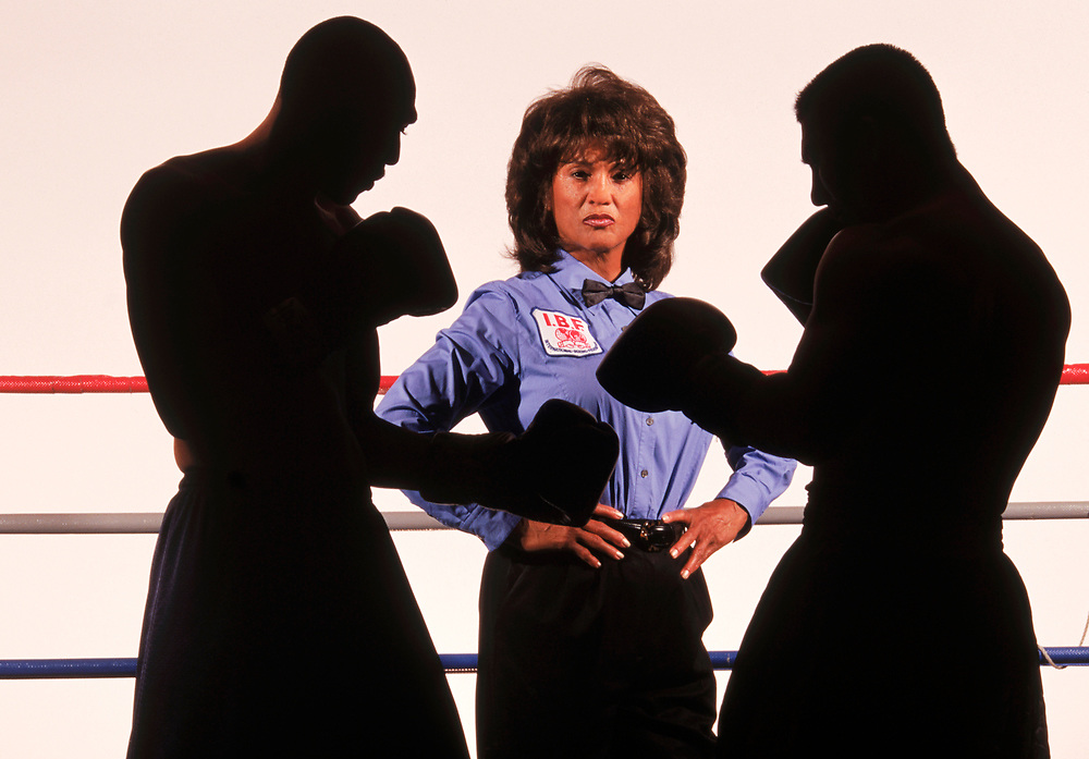 Gwen Adair, pro boxing's only  female referee. Photographed for Sports Illustrated