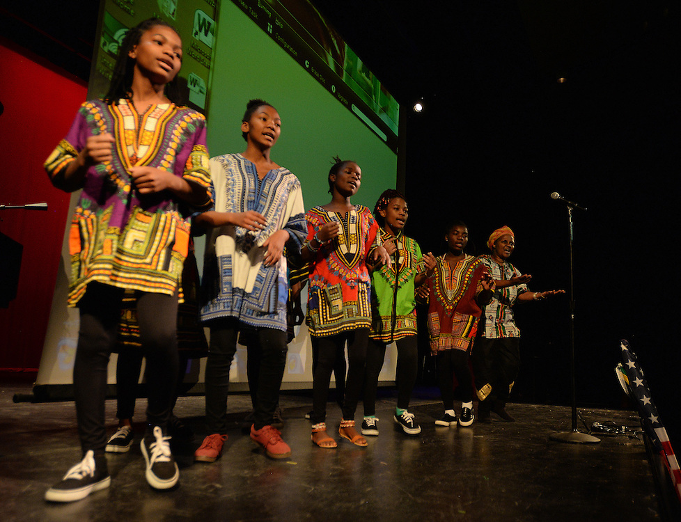 apl120416b/ASECTION/pierre-louis/JOURNAL/120416<br /> Members of the Matunda Ya Yesu Youth Choir perform &quot;Sabela&quot;, a traditional South African song  during the Nelson Mandela Commemoration held at the African American Performance Arts Center .Photographed  on Sunday December 4, 2016. .Adolphe Pierre-Louis/JOURNAL