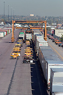 An intermodal train gets unloaded at the BNSF's terminal in Denver, CO.