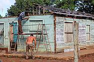 House building in Baragua, Ciego de Avila Province, Cuba.