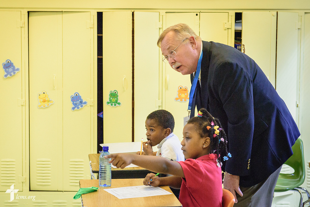 Terry L. Schmidt, director of LCMS School Ministry, observes a classroom during accreditation at River Roads Lutheran School on Monday, Oct. 3, 2016, in St. Louis. LCMS Communications/Erik M. Lunsford