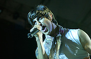 Perry Farrell of Jane's Addiction performing at the 2003 Gravity Games at the the North Coast Harbor behind the Rock and Roll Hall of Fame in Cleveland Ohio. Photo by Bryan Rinnert/3Sight Photography