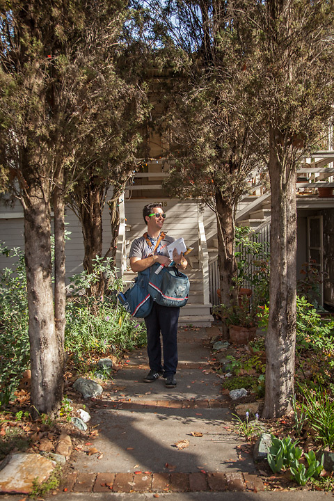"""Letter carrier Charlie Pelley on Cedar Street in Calistoga.  """"I just passed my three month probation...I get my uniform next week...now I will look like a real letter carrier."""""""