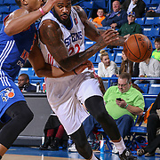 Delaware 87ers Forward EARL CLARK (22) attempts to drive past Westchester Knicks Forward DARION ATKINS (5) in the second half of a NBA D-league regular season basketball game between the Delaware 87ers and the Westchester Knicks Tuesday, JAN, 19, 2016 at The Bob Carpenter Sports Convocation Center in Newark, DEL