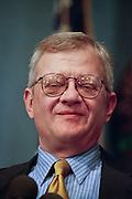 Best selling author and novelist Tom Clancy speaks at the National Press Club May 18, 1999 in Washington, DC. Clancy is known for his detailed espionage and thriller stories.