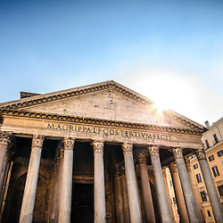 The Pantheon is a former Roman temple, now a church, in Rome, Italy, on the site of an earlier temple commissioned by Marcus Agrippa during the reign of Augustus.