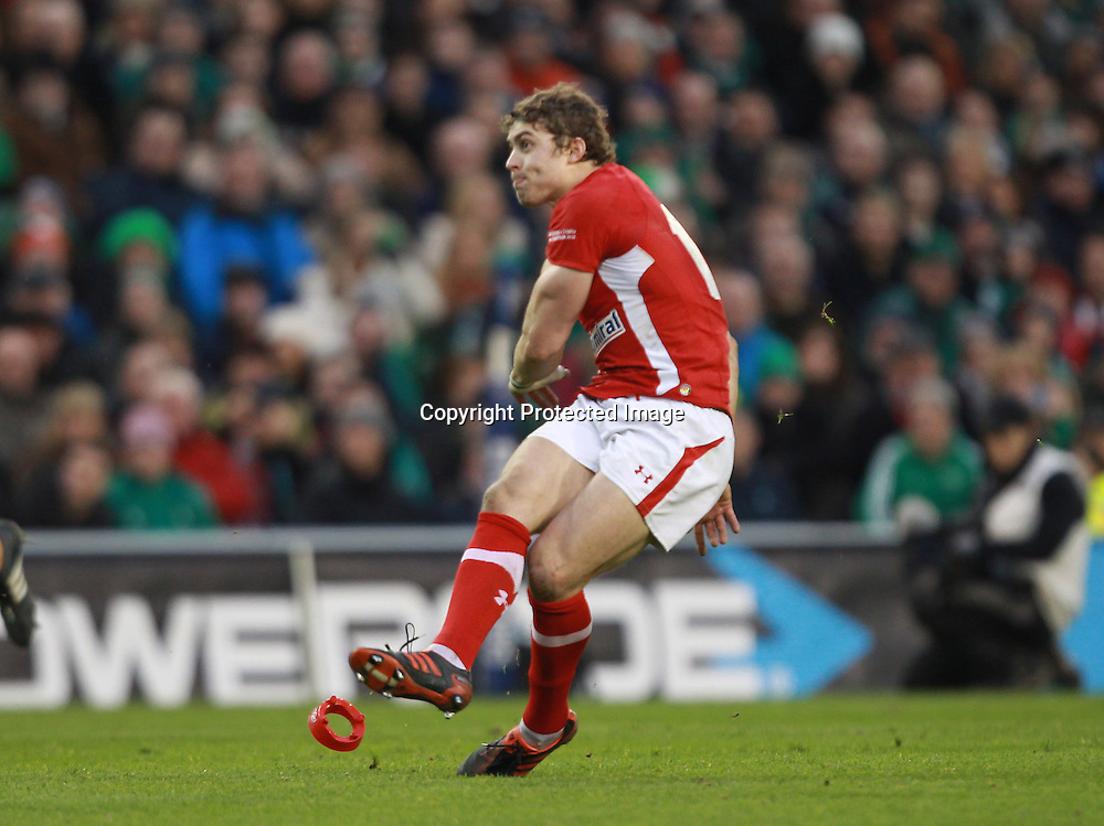 RBS Six Nations Championship, Aviva Stadium, Dublin 5/2/2012<br /> Ireland vs Wales<br /> Leigh Halfpenny kicks the winning penalty for Wales<br /> Mandatory Credit &copy;INPHO/Billy Stickland