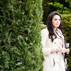 LONDON, UK - 21 May 2012: British Soprano Laura Wright during rehearsal at 'The arthritis Research UK Garden' at the RHS Chelsea Flower Show 2012.