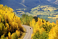 Jeep travels on Hwy 145, San Juan Skyway, outside of Telluride Colorado, fall colors, aspen trees