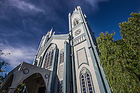 Immaculate Conception Cathedral, Puerto Princesa - <br /> This historical landmark celebrated the first mass in 1872 where a Spanish expedition proclaimed the Immaculate Conception of Mary as the Patroness of Puerto Princesa.  The cathedral  itself was built in 1961. The light blue cathedral with its symmetrical arches - such an angular structure departs from most churches in the Philippines, with its iunconventional structure and color.