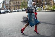 Denim Skirt with Tulle, Outside Dries Van Noten SS2017