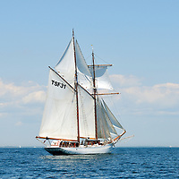 French tall ship L'Etoile, a gaff rigged schooner, under full sail
