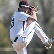 Caravel Academy Pitcher Bryce Carney (13) attempts to a pitch during a regular season baseball game between the St. Marks Spartans and Caravel Academy at St. Marks Stadium Thursday April 14, 2016 in Wilmington.
