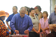Former Oxford Elementary principal Larry Christmas votes on a $30 million school bond referendum at the Oxford Activity Center in Oxford, Miss. on Tuesday, October 26, 2010.
