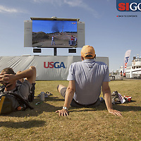 """The US Open created a satellite viewing area in downtown Seattle for visitors to enjoy the Open which was being played about 50 miles away. Photographed for Sports Illustrated's US Open photo essay """"Behind The Open Curtain: Plotting the Course."""" 6 of 8"""