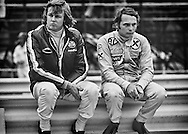 For Ronnie Peterson and teammate Niki Lauda, it's all gloom as they consider their options for the coming season during the 1972 United States Grand Prix. Driving for STP-March F1 had been a nightmare, as they both hopped from March 721 to March 721X to March 721G in the hope of finding a reliable car with speed. <br />
