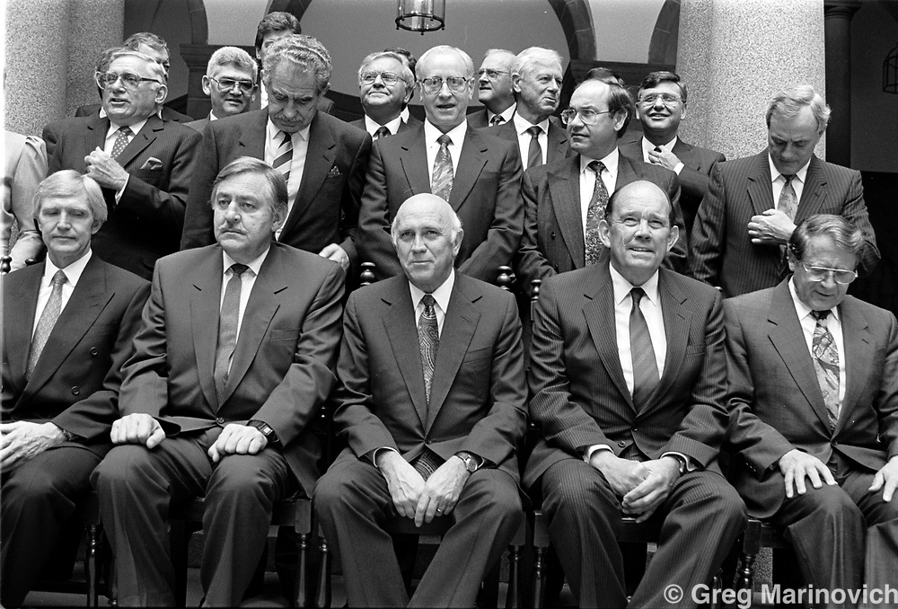 SOUTH AFRICA DE KLERK CABINET POLITICS Front row, Left to right: Dawie De Villiers, Pik Botha, President FW De Klerk, Gen Magnus Malan, Kobie Coetzee. Rear centre is Adriaan Vlok  during one of the last portrait sessions of the last all white South African Cabinet at the Union Buildings in Pretoria. (Photo by Greg Marinovich)