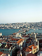 View of the Galata Bridge and Sultanahmet from the Galata Tower