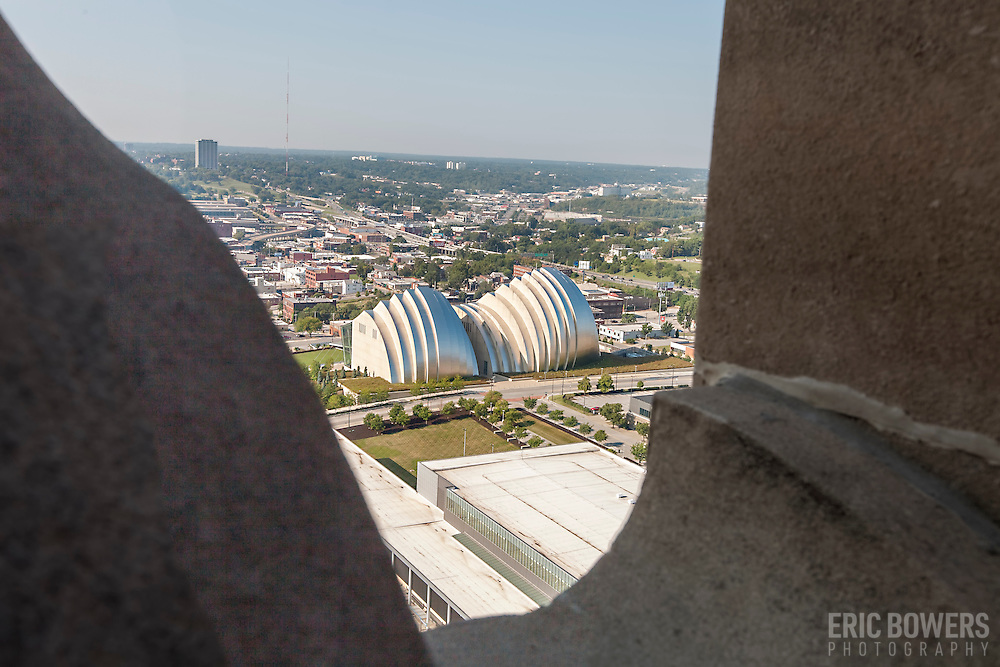 Views of Kansas City from exterior of Power and Light Building during renovation.