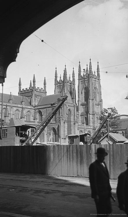 Undergoing restoration of St. Andrew's Cathedral, Sydney, Australia, 1930