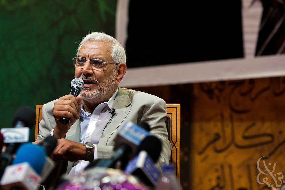 Egyptian Islamist presidential candidate Abdul Moneim Aboul Fotouh speaks at a womens' conference during a campaign stop May 15, 2012 in the Nasr City district of the Egyptian capital, Cairo. Fotouh's campaign has managed to gather momentum in the final weeks of the campaign by gaining the support of a broad coalition of groups including Islamists, revolutionary youth, and women.