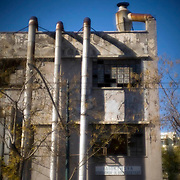 An old abandoned factory in the area of Patissia, central Athens. Image © Angelos Giotopoulos/Falcon Photo Agency
