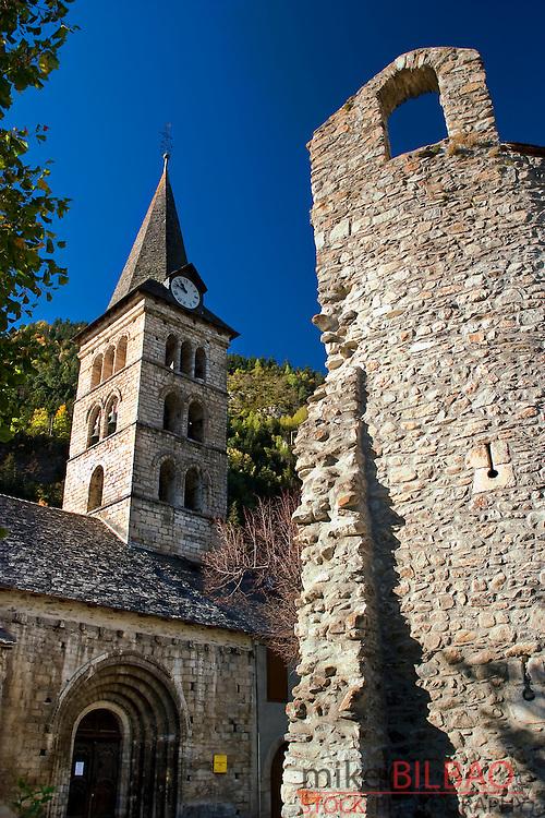 Santa Maria church. Arties village.<br /> Aran Valley. Lerida province.  Catalonia, Spain, Europe