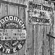 Goodrich Tires - Private Property Signs - Eldorado Canyon - Nelson NV - HDR -  Black & White