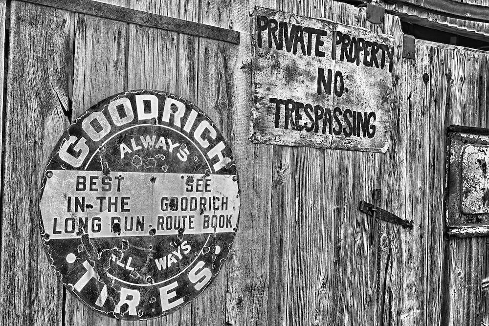 Goodrich Tires - Private Property Signs - Eldorado Canyon - Nelson NV - HDR -  Black & White