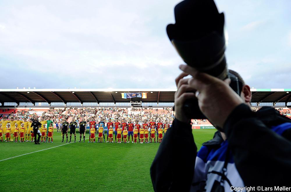 DK Caption:<br /> 20110619, Herning, Danmark.<br /> Fodbold UEFA U21 Euroropamesterskab:<br /> Ukraine-Spanien. Line up<br /> Foto: Lars M&oslash;ller<br /> <br /> UK Caption:<br /> 20110619, Herning, Denmark.<br /> Football UEFA U21 European Championship:<br /> Ukraine-Spain. Line up<br /> Photo: Lars Moeller