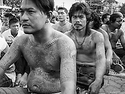 """15 MARCH 2014 - NAKHON CHAI SI, NAKHON PATHOM, THAILAND: Men pray  at the Wat Bang Phra tattoo festival. Wat Bang Phra is the best known """"Sak Yant"""" tattoo temple in Thailand. It's located in Nakhon Pathom province, about 40 miles from Bangkok. The tattoos are given with hollow stainless steel needles and are thought to possess magical powers of protection. The tattoos, which are given by Buddhist monks, are popular with soldiers, policeman and gangsters, people who generally live in harm's way. The tattoo must be activated to remain powerful and the annual Wai Khru Ceremony (tattoo festival) at the temple draws thousands of devotees who come to the temple to activate or renew the tattoos. People go into trance like states and then assume the personality of their tattoo, so people with tiger tattoos assume the personality of a tiger, people with monkey tattoos take on the personality of a monkey and so on. In recent years the tattoo festival has become popular with tourists who make the trip to Nakorn Pathom province to see a side of """"exotic"""" Thailand.   PHOTO BY JACK KURTZ"""