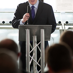 London, UK - 9 December 2013: The Mayor of London, Boris Johnson, gives a keynote speech during an HGV/cycle safety event at City Hall attended by construction and transport trade associations, property developers, contractors and vehicle manufacturers.