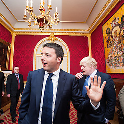 Prime Minister Matteo Renzi visits Lancaster House for the celebration of the 150th anniversary of Giuseppe Garibaldi&rsquo;s visit to London.<br /> In the photo:  Matteo Renzi and the Mayor of London, Boris Johnson