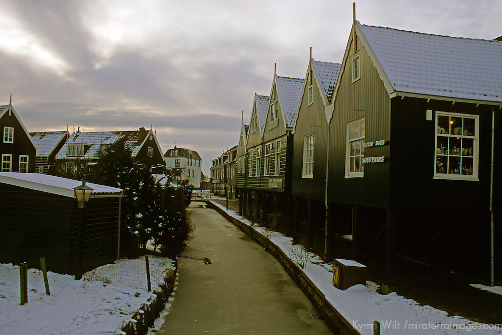 Europe, The Netherlands.  Zaanse Schans in winter.
