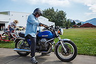 Ken Olsson, Museum Coordinator, on his Moto Guzzi at WAAAM.