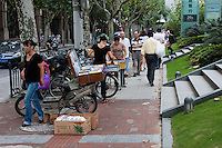 Locals selling from bikes in Shanghai China