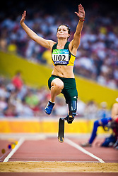 "Christine Wolf of Australia competes in the women's F42 Long Jump during the Beijing 2008 Paralympic Games; National ""Bird's Nest"" Stadium, Beijing Olympic Green, China, 8th September 2008;"