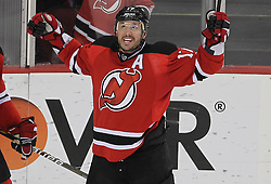 April 24, 2012; Newark, NJ, USA; New Jersey Devils left wing Ilya Kovalchuk (17) celebrates his goal against Florida Panthers goalie Scott Clemmensen (30) during the second period of game six of the 2012 Eastern Conference quarterfinals at the Prudential Center.