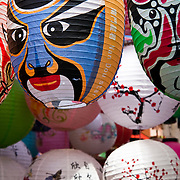 CHINA (Hong Kong). 2009. Paper lamps in a street market in Soho.