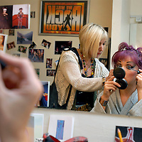 UK. London. We Will Rock You, the Musical by Queen and Ben Elton, being performed in London's Dominion Theatre..Photo shows Jenna Lee James who plays Scaramouche in her dressing room and on stage..Photo©Steve Forrest/Workers' Photos.