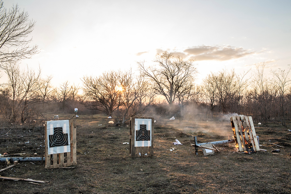 Targets used for weapons training by the Azov Brigade at one of the group's training grounds on Saturday, March 7, 2015 in Kulykivske, Ukraine.